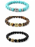 Wholesale Crystal Buddha Head - Buddha Head Beads Chakra Bracelet With Lava Rock Stone Tiger Eye Stone Turquoise Beads Yoga Healing Power Crystal Stretch Beaded Bracelet