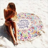 Wholesale Sunshine Baby Wholesale - Round Sunshine on My Shoulder Mades Me Happy Beach Tassel Tapestry Towel Summer Swimming Sunbath Beach Towels CCA5642 50pcs