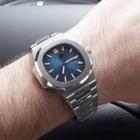 Wholesale Mens Mechanical - Top Sale PP Nautilus 5711 1A-010 Sport Watch Men Brand Auto Monement Watch Silver Case Blue Dial Stainless luxury Band mens Watches