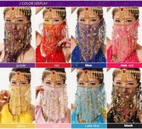 Wholesale Belly Dance Masks - hand made embroidered mesh belly dance Performance face veils plum flower veil Indian dance costume jewelry props face mask Stage Wear