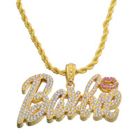 Wholesale letters rhinestone pendants - Hip Hop Lced Out Nicki Minaj Pendant Necklace Jewelry Bling bling N661