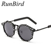 Wholesale Polka Dot Sunglasses - Wholesale- RunBird 2016 New Polka Dot Retro Brand Designer Sunglasses Women Vintage Alloy Star Style Sun Glasses Gafas Oculos De Sol R587