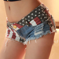 Wholesale Sexy Jeans Free Shipping - Summer New Arrival Sexy Shorts Jeans Low Waist Womens Fashion Denim Shorts Holes America Flag Beach Thin Hot Jeans Girls Free Shipping
