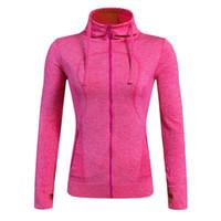sıkıştırma giymek kadınlar toptan satış-Toptan-Marka Spor Yoga Koşu Ceketler Kadınlar için Spor Salonu Giymek Uzun Kollu Kapşonlu Coat Sıkıştırma Eğitim Giyim Spor 8001
