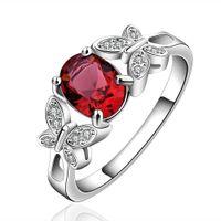 pierres de cristal de pierres précieuses rouges achat en gros de-Anneau de pierre gemme rouge mignon double réaliste Design papillon