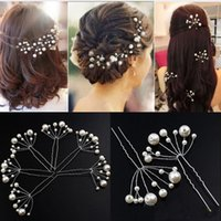 Wholesale Red Hair Bridal Pins - New bridal hair pins clips accessories for wedding hot bridal Bridesmaid white and red pearls hair piece hairpin comb clip accessory