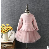 Wholesale Knitted Tutu Tops - Christmas Kids Outfits Girls Boat-Neck Pocket Knitting Sweater tops+tulle Full Skirt 2Pcs Suit Girls Kids Princess Clothing Sets G1304