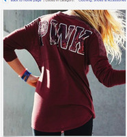 Wholesale Short Sleeve Sweats Hoodies - cheapest!!! red color Pullover SweartShirt Hoodies Long Sleeve love Print Short Sweats pink Tops tees in stock