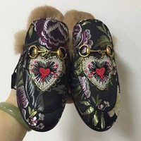 Wholesale Denim Flowers Shoes - New 2017 Genuine Leather Women Real Fur Slippers Winter Brand Designer Fashion Loafers Shoes Ladies Embroidery Flower Denim Flats D619