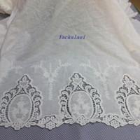 Wholesale Double Voile Lace - YACKALASI 5 Yards Lot Cotton Lace Fabrics Double Sides Chemical Lace Scallop Embroidered Appliqued Lace 100% Cotton Voile 130CM