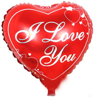 Wholesale Red Ballons - 18 inch red heart shaped wedding ballons with i love you letters for wedding decorations