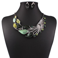 Wholesale Vintage Diamond Choker Necklace - 2017 New Vintage Leaves Drop Oil Earrings Necklace 2 sets Bohemian Statement Fashion Diamond Jewelry for Women's Accessories Free Shipping
