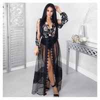 Mesh Tiefes V-ausschnitt Kaufen -2017 Sexy Maxi tiefe V-Ausschnitt Chiffon Kleid Frauen Elegant Black Mesh Hohe Taille Lange Party Kleid Femme High Split Nacht Clud Wear Abendkleid