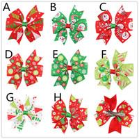 Wholesale Christmas Hair Ribbon Wholesale - 8colors Girls Christmas Grosgrain Ribbon bow hairpins snowman snowflake printing ribbon bow hair clips kids Xmas Barrette hair accessory