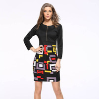 Wholesale Sexy Cloths Night - Wholesale- Vintage Summer Dress Zipper Office 2016 Vestidos De Festa Pencil Women Clothing Sexy Bodycon Patchwork Cloth Robe Party Dresses