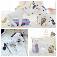 Wholesale baby sofa toys - Cute 3D Unicorn Shape Cushion Throw Pillow 38*30cm Cartoon Sofa Unicorn Horse Plush Toys Baby Sleep Pillow 100pcs OOA3432