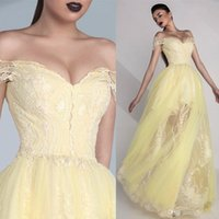 Wholesale Tulle Skirt Price - Yellow Long Prom Dresses Cheap Price Off Shoulder Neck Custom Formal Wear Appliques Lace Floor Length Sheer Skirt Iullsion A Line