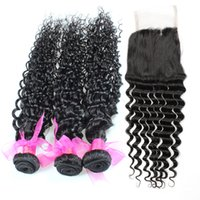 Wholesale Virgin Brazilian Lace Closure 1pcs - Brazilian Deep Wave Virgin Hair Extensions With 4*4 Lace deep wave Closure,3pcs Human Hair Wefts Weaves with 1pcs Lace Closure