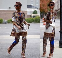 Wholesale Wide Pants Dress - 2016 New African fashion design dress Suits Women Traditional Print Dashiki National Half-Sleeved Two Pieces Set Jumpsuits S-XXXL Big Size