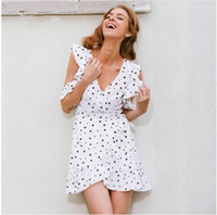 Wholesale white cold shoulder dress - Ruffle cold shoulder polkadot print summer dress irregular bow wrap short dress Women chic chiffon white Bohemian beach holiday dress new