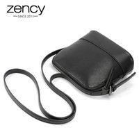 Wholesale Natural Leather Bags - Wholesale- 2017 Classic Famouse Brand Shell Quality Natural Genuine Leather Black Women Small Messenger Bags Ladies Handbag Shoulder Phone