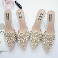 Wholesale High Wedges For Wedding - Pearl Rhinestones High Heels Shoes For Ladies Pointed Toes Shoes Pink And Beige Sandal Shoes Size 35-39 Free Shipping