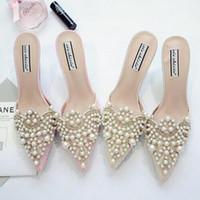 perle schuhe damen größe großhandel-Perle Strass High Heels Schuhe für Damen wies Zehen Schuhe Rosa und Beige Sandale Schuhe Größe 35-39 Kostenloser Versand