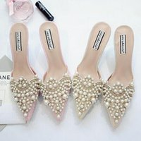 perle rose talons hauts achat en gros de-Perles strass talons hauts chaussures pour dames à bouts pointus chaussures rose et beige chaussures sandale taille 35-39 livraison gratuite