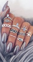 Wholesale Tribal Vintage Rings - 2016 Hot 10PC Set Women Punk Vintage Knuckle Rings Tribal Ethnic Hippie Stone Joint Ring Jewelry Set Gift RING SET Bohemian