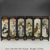 Wholesale CHINA LACQUER WARE OLD HAND PAINTING BELLE COLLECTIBLES BEAUTY SCREEN NICE FOLD