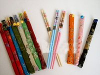 Wholesale Chopstick Bamboo - Wholesale 20pcs 10 Pairs Chinese Handmade Vintage Wood Chopsticks With Silk Covers