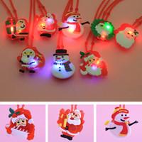 Wholesale Led Christmas Lights Necklace - Santa Claus LED Light Soft Necklace Hot Sale Children Christmas Colorful Flashing LED Light Cartoon Glow Up Necklace Party Favors