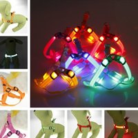 Wholesale Led Collar Harness Light - Led Dog Harness Safety Dog Pet Belt Harness Glow Flashing Light Collar Pet Belt Harness Leash Tether Dog Supplies Leashes Pet Light