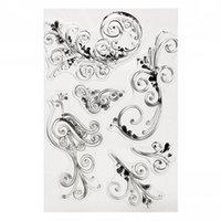 Wholesale Decorative Stamp Set - Wholesale- 3D Flower Black Rubber Stamp Cling Art Set DIY Scrapbooking Paper Cards Transparent Decorative Tools Gadgets Craftwork