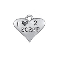 New Hot Antique Silver Plated Heart Shape Letra gravada 1 love 2 SCRAP Casal duplo encantos para DIY Making Jewelry