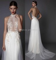 Wholesale Modify Dress - open low back wedding dresses 2017 muse berta bridal sexy modified A line sleeveless halter neck sheer embroidered bodice sweep train