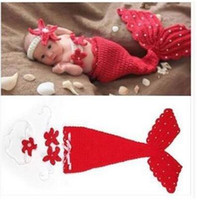 Wholesale Newborn Infant Photography Clothing - Retail 2017 New 3PCS Infant Clothing Set Newborn Baby Mermaid Photography clothing Toddler Clothes 0-1Y 1650