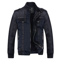 Wholesale Mens Blazer Leather Collar - Wholesale- Designer Winter Male Velvet Denim Jacket Mens PU Leather Motorcycle Parka Men Slim Fit Casual Fashion Mens Blazer Jackets S2267