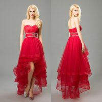 2017 Prom Dressess Hallo Low Crystal Tüll Sequin Prom Kleid ärmellos Schnürsenkel Red Chiffon Falten Eine Linie Sweetheart Evening Party Kleider