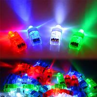 ingrosso laser incandescenti-LED Finger Lamp LED Finger Ring regali Luci Glow Laser Finger Beams LED lampeggiante anello Party Flash Kid Toys 4 colori b1472-1