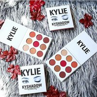 Wholesale Burgundy Metallic - AAA quality   New makeup Kylie Jenner KyShadow burgundy 9 color Bronze powder eyeshadow palette with code