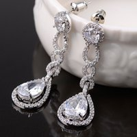 Wholesale Dangling Accessories - Vintage Crystal Bridal Earrings Long Silver Dangle Wedding Earrings Bridal Jewelry Cubic Zirconia Chandelier Earrings Bridal Accessories