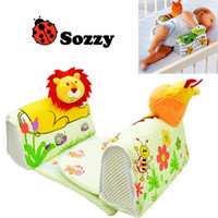 Wholesale New Baby Anti Pillow - retail new sozzy animals 100% cotton Baby shape pillow baby pillow anti rollover lion frog Baby Safe Anti Roll Pillow Sleep Head Positioner