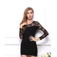Wholesale Close Fitting Lace Wedding Dress - Fashion Sexy Women Lace Dress Vestidos Close-fitting Slim Long Sleeve Dresses Party Evening Wedding Casual Summer Dress