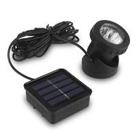 Wholesale Auto Spot Light Solar - Wholesale- Waterproof Solar Powered LED Garden Spotlight Spot Light Lamp Auto On Pool Pond Outdoor Led Yard Light Lamps