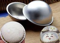 ems alaşımı toptan satış-DHL veya EMS tarafından 1000 adet 3D Alüminyum Alaşım Topu Küre Banyo Bomba Kalıp Kek Pişirme Pasta Kalıp