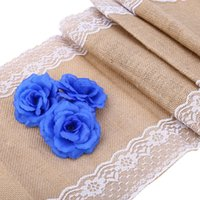 NEW Vintage Burlap Wedding Decoration Lace Hessian Table Runner Оригинальный стиль экологии White Natural Jute Country Party