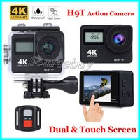 4K HD 1080P Wifi Sport Action Camera H9T Capa de tela de toque de 2 polegadas Impermeável DV Video Recorder Camcorder Cam Dual Screen + Remote Control