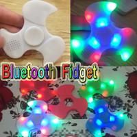 Wholesale Blister Toy Packaging - LED Fidget Spinner Bluetooth Speaker Handspinner LED Rainbow Light Luminous Hand Spinners Fidget Finger Toys with blister package