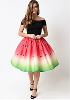 Wholesale 2017 summer new women s print watermelon college ball gown bubble skirt fashion skirt energetic lovely skirt soft fabric